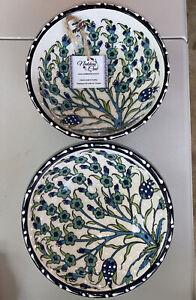 "Nakkas Cini Hand Painted Raised Turkish Ceramic Bowl 6.25"" x 2.50"" Set Of 2"