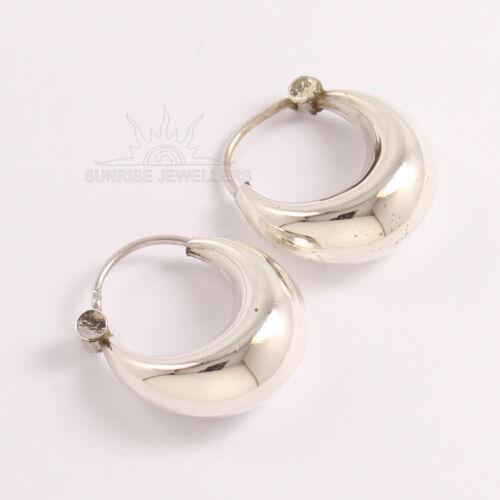 Hoop Girl/'s Fashion Earrings PLAIN No Stone 925 Pure Sterling Silver Jewelry