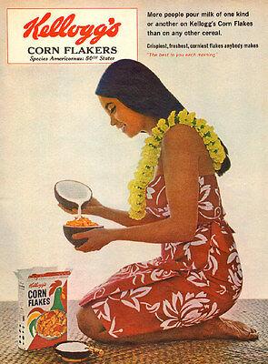 1964 vintage AD KELLOGG'S CORN FLAKES Coconut Milk Hawaiian girl 052515
