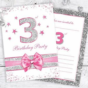 Image Is Loading 3rd Birthday Invites Pink Sparkly Design With Faux