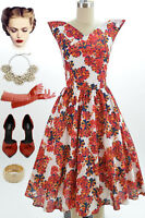 50s Style White CHERRY BLOSSOM Print WINGED Bust SPACE AGE Pinup VLV Day Dress