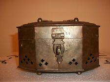 Vintage Octagonal Solid Brass Cricket Box Cage Trinket Antique