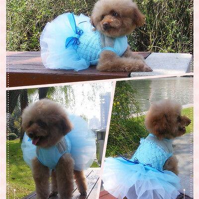 Dog Cat Tutu Dress Bowknot Lace Skirt Puppy Dog Princess Wedding Party Apparel