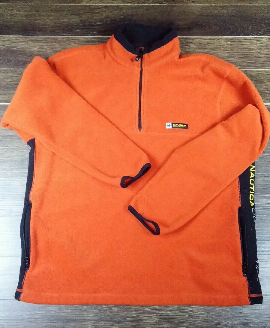 orange Nautica Competition Fleece Parka made in USA  100% Polyester Size M M