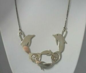 Stunning Rare Large Sterling Silver Dolphin Necklace By Jackie and Ed Keilthy