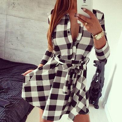 Womens Check Shirt Mini Dress Casual Long Sleeve Plaid Tartan Romper Dress