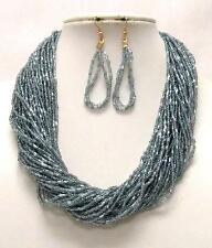 MULTI STRAND BLUE GREY GLASS SEED BEAD NECKLACE EARRING SET