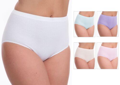 3 Pack Femmes Tunnel Élastique en coton côtelé Full Briefs Knickers Pantalon