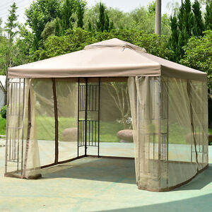Image is loading Outdoor-10-x10-Gazebo-Canopy-Shelter-Awning-Tent- & Outdoor 10u0027x10u0027 Gazebo Canopy Shelter Awning Tent Patio Garden New ...