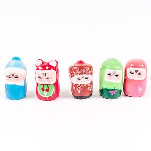 Set-of-5-Vintage-Chinese-Miniature-Clay-Folk-Dolls