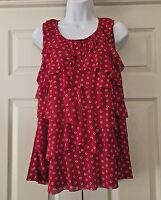 Roz & Ali Red & White Polyester Tank Ruffled Neck Layered Front Size 2x