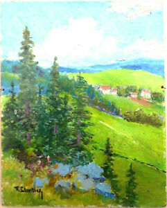 tableau huile panneau - paysage de montagne vers 1920   - signée F Ehrlich