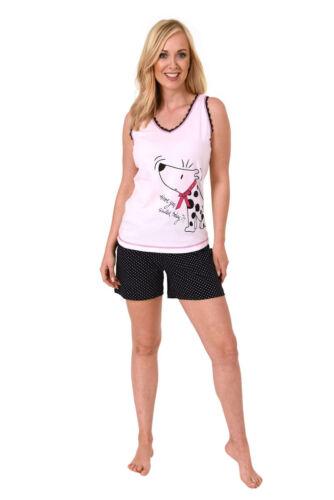 Damen Shorty Pyjama Schlafanzug V-Hals Ohne Arm Baumwolle Übergrößen 61293