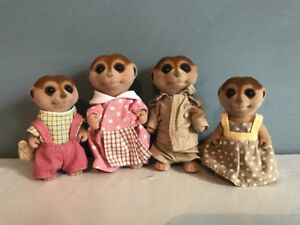 Rare Sylvanian Families Calico Critters Meerkat Family Set Flair Used