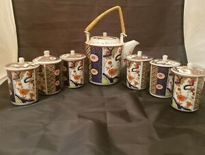 Estate-14pc-Taiwanese-Chinese-Tea-Set-Teapot-w-Lid-6-cups-with-lids