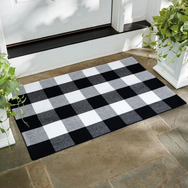 Winwinplus Buffalo Check Outdoor Rug Black and White Plaid Rug farmhouse rugs