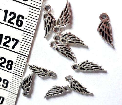 aplicación bricolaje pequeñas alas de metal color plata suturar 12 unidades charm