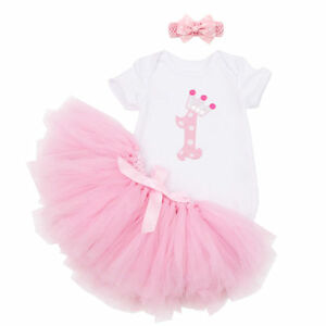 Image Is Loading Baby Girls 039 1st Birthday Tutu Outfit Set