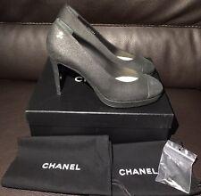 New CHANEL Distressed Black Leather Platform Heels Pumps CC Metal 40 9 9.5 Italy