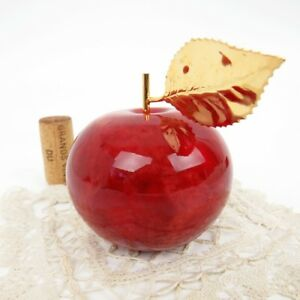 Genuine-Alabaster-Red-Apple-Paperweight-Ducceschi-Hand-Crafted-Italy-3-1-2-034-T