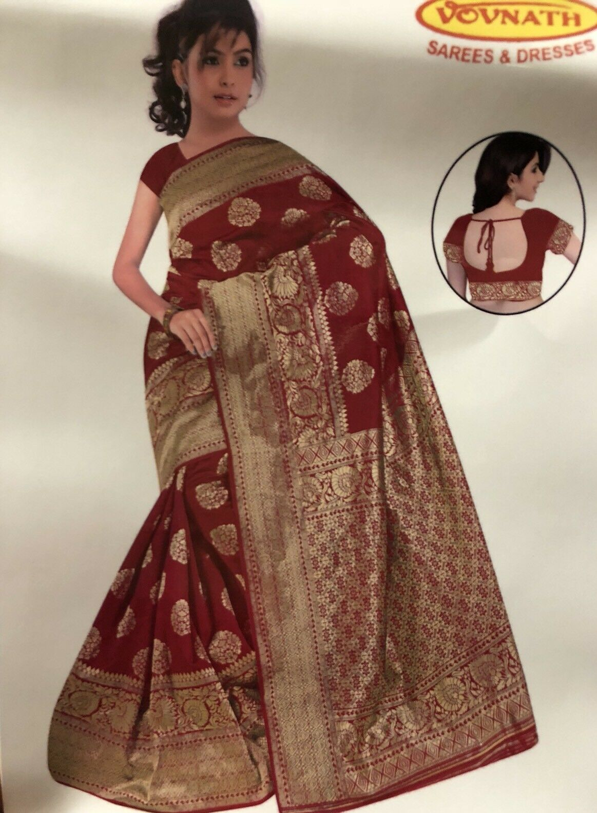 Bollywood Saree Indian Cotton Silk braun Maroon Gold Diwali Bridal Sari ML2
