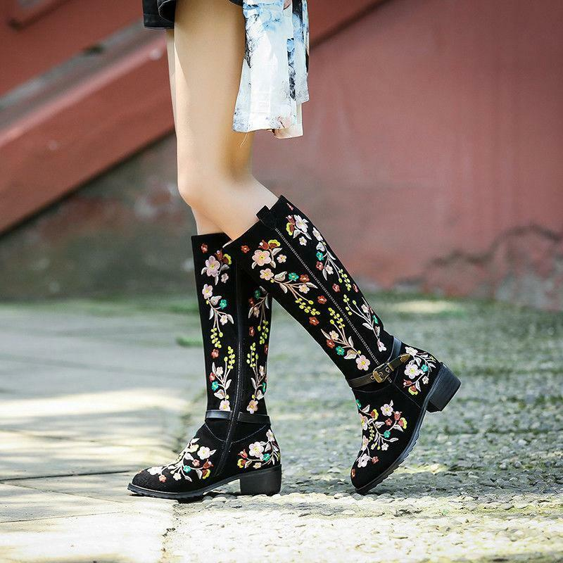 Retro Fashion New Womens Embroider Chunky Heels Knee High Boots Floral Plus Size
