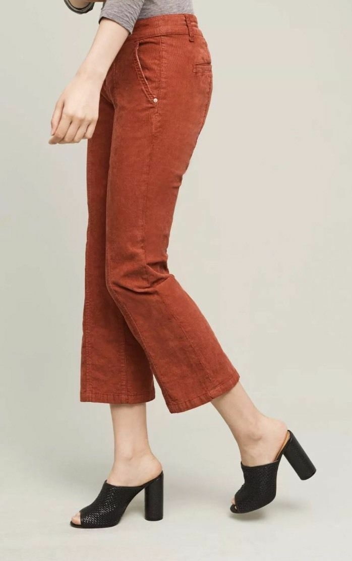 ANTHROPOLOGIE Pilcro Stet Mid Rise Crop Flare Cords NwT 2 10 12 14