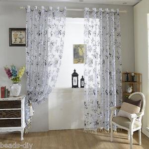 A Imagem Esta Carregando 1 Panel BD Floral Sheer Grommet Tulle Door