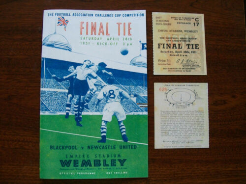 1951 F A Cup final programme & Ticket Newcastle United v Blackpool in Mint con.