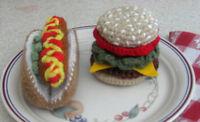 Handmade Crochet Hamburger & Hot Dog Pretend Play Food Amigurumi Toy