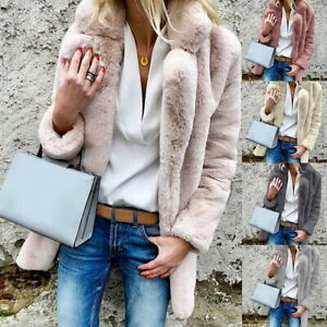 Femmes-Manteau-En-Fausse-Fourrure-Slim-Longues-Veste-Revers-Fluffy-Outwear-Coat