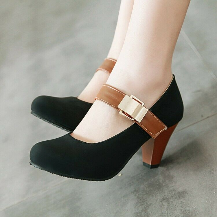 Women Mary Jane Pumps Chunky Heels Ankle Strappy Shallow Party OL Court shoes