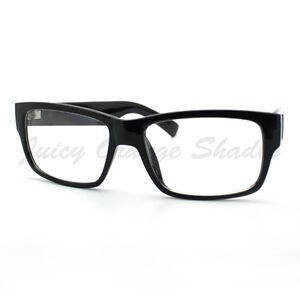 Mens Fashion Eyeglasses Classic Black Rectangular Clear ...