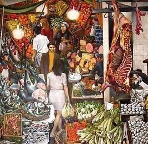 Picture Print on Canvas Renato guttuso Vucciria 50x50 Reproduction palermo market
