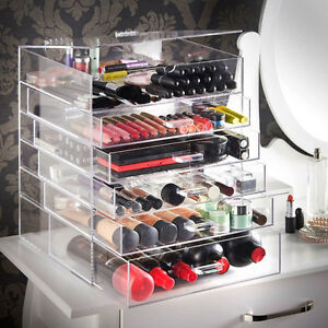 Large 6 Tier Clear Acrylic Makeup Cosmetic Organizer Storage Box Drawers Case
