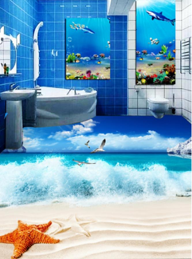 3D Sky Sea Waves Beach 9 Floor WallPaper Murals Wall Print Decal AJ WALLPAPER US