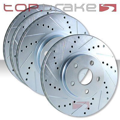 FRONT REAR SET Performance Cross Drilled Slotted Brake Disc Rotors TBS35917