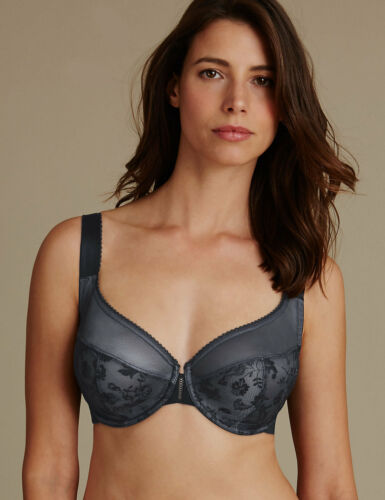 NEW MARKS SPENCER M/&S RENAISSANCE EMBROIDERED FULL CUP WIRED BLACK BRA 32 E F G
