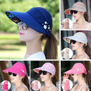 Womens Lady Visor Hat Summer Sun Beach Ladies Foldable Roll Up Wide ... 51c3337a4534