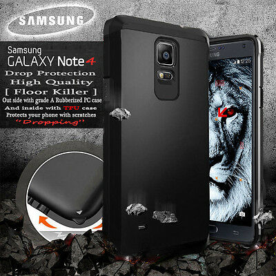 Armor Luxury Hard Bumper Rubber Soft Case Black Cover For Samsung GALAXY Note 4
