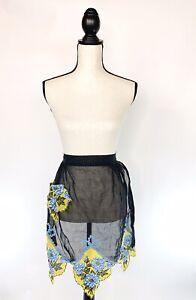 Vtg-Women-Black-Sheer-Half-Hostess-Apron-Green-Yellow-Floral-Mid-Century-50s-60s