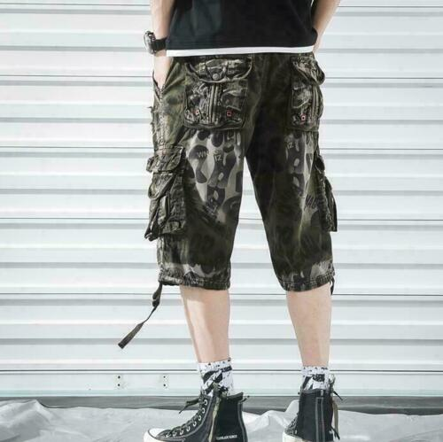Mens Army Military Pants Baggy Shorts Overalls Cargo Loose Capri Trousers Half
