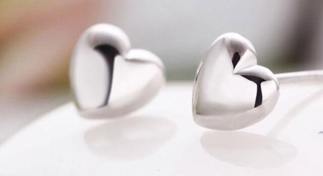 Elegance Women Gold/Silver Plated  Smooth Heart Shape Charm Ear Stud Earrings
