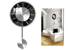 BLACK PENDULUM WALL MOUNTED CLOCK POLISHED CHROME EFFECT DECORATIVE MODERN HOME