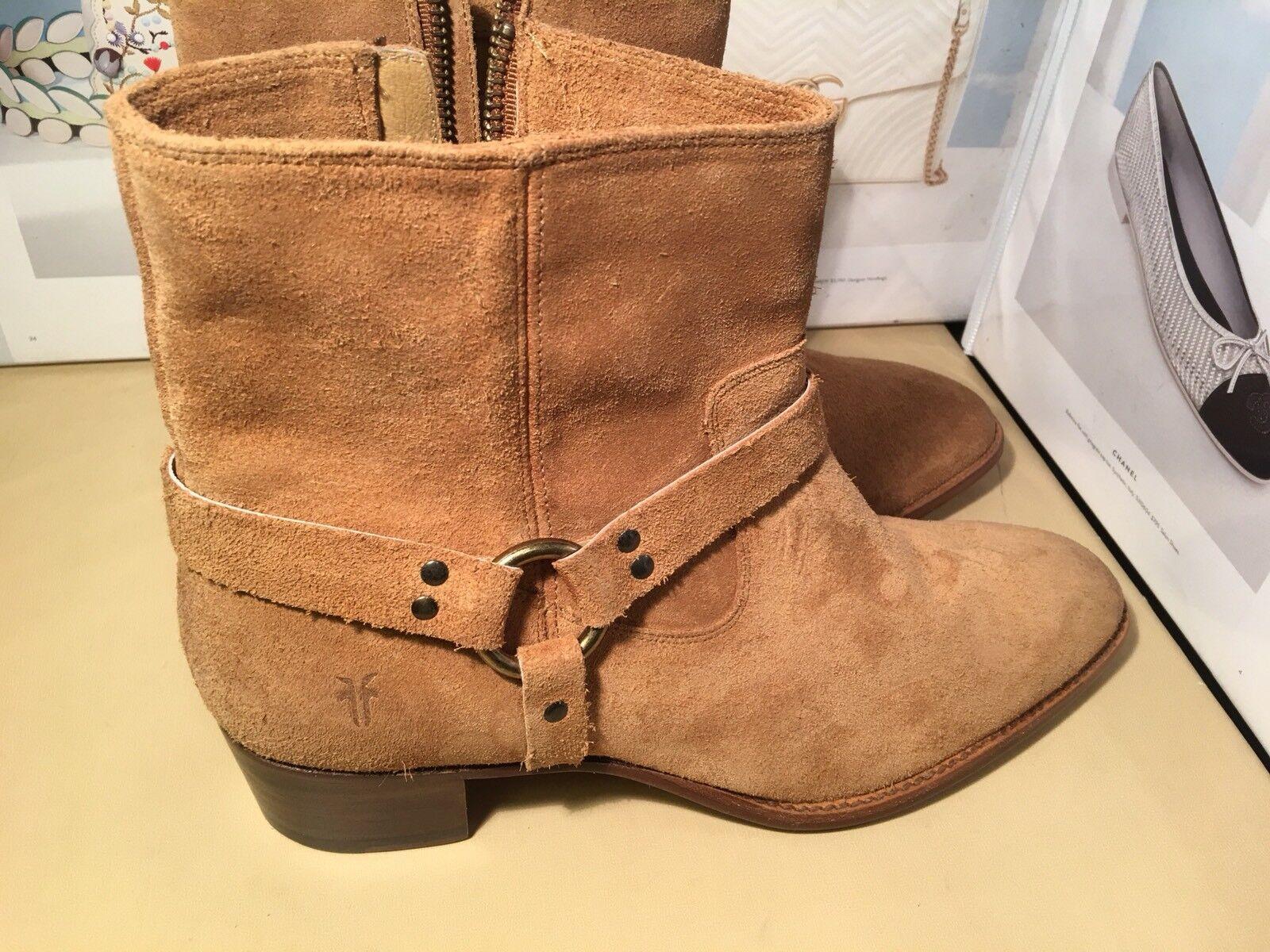 Frye Women's Dara Harness Short Sand Suede Boot SZ 10