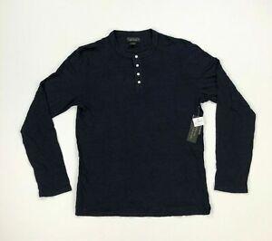 Bloomingdales-Mens-Henley-Shirt-Long-Sleeve-100-Linen-Navy-Blue-Variety-Sizes