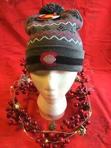 Women's Colorado Grey Pink Pom Pom Cuffed Knit Beanie Hat One Size NWT Ski New