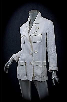 SONIA RYKIEL White 100% Linen JACKET w/Silk Blend Satin Trim-GORGEOUS! 36/US 6
