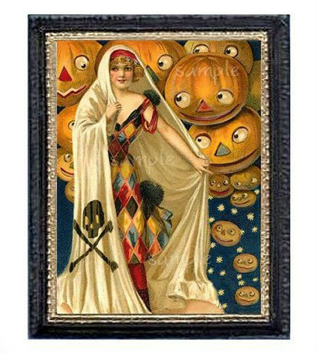 Halloween Lady Miniature Dollhouse Picture