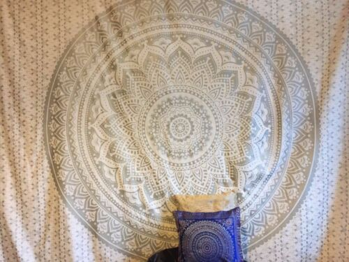 Indian Ombre Mandala Tapestry Twin Throw Wall Hanging SilverTapestries Dorm UK